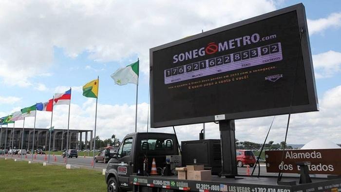 Sonegômetro, projeto criado pelos procuradores da Fazenda Nacional para denunciar o alto índice de sonegação no país: em 2018 foram R$ 345 bilhões