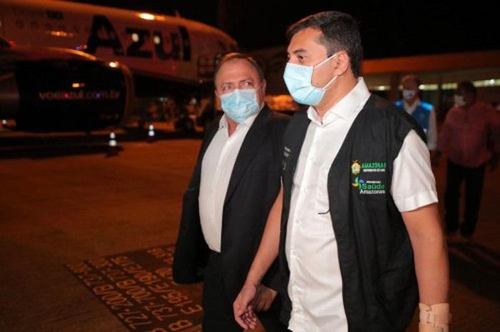 Aliados: o governador Wilson Lima (PSC) e Pazuello receberam 5% do lote de vacinas que chegaram ao país na sexta-feira