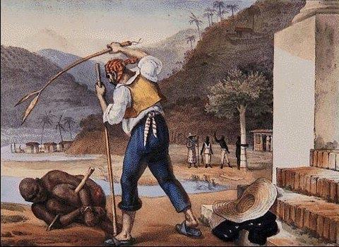 O hino dos brancos |  Reprodução de O AÇOITE - Gravura de Jean-Baptiste Debret, 1834-1839