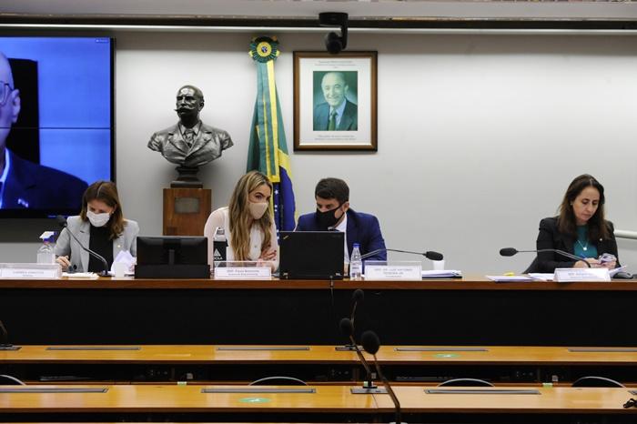 """Deputadas do Cidadania, Carmen Zanotto (SC) e Paula Belmonte (DF), Luiz Antonio Teixeira Jr. (PP/RJ) e Adriana Ventura (Novo/SP) durante a videoconferência """"A Retomada das Aulas Presenciais na Educação Básica em 2021"""""""