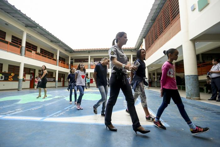 Primeiro dia de aulas no CED 01 da Estrutural, uma das escolas públicas do DF onde foi implementado o modelo cívico-militar