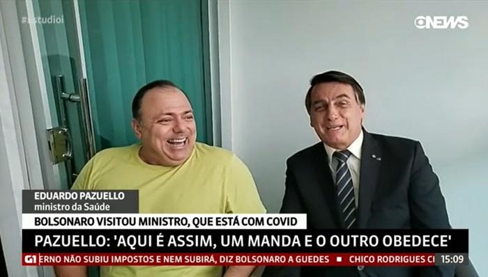 Em outubro, depois de desautorizar o ministro e suspender a compra da vacina chinesa contra a covid-19, Bolsonaro fez uma visita a Pazuello, que testara positivo para o novo coronavírus e se declarou submisso ao presidente