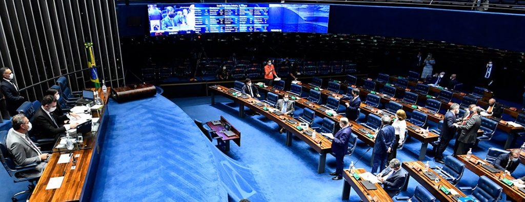 Plenário do Senado Federal durante sessão deliberativa ordinária semipresencial. Na ordem do dia, Proposta de Emenda à Constituição (PEC) 186/2019