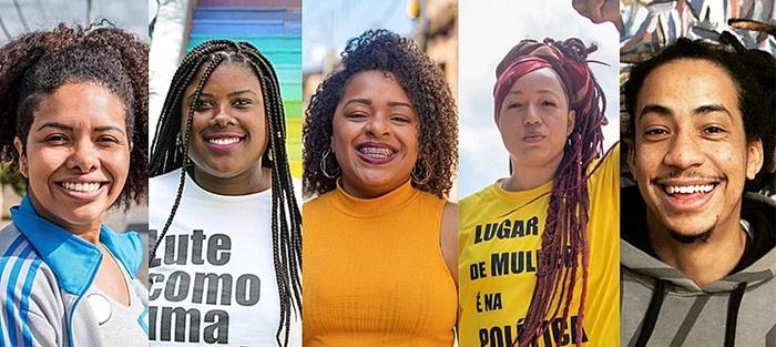 Karen Santos (PSol), Laura Sito (PT), Bruna Rodrigues e Daiana Santos (PCdoB) e Matheus Gomes (PSol): representação negra Câmara de Vereadores da capital