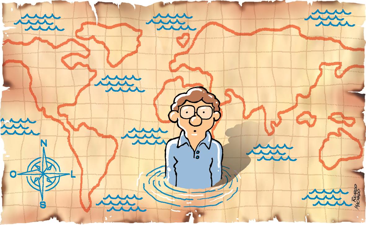 Ilustração de Ricardo Machado para as crônica Perdidos, de Luis Fernando Verissimo. Jornal Extra Classe, 257, setembro de 2021